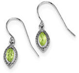 Marquise-Cut French-Wire Peridot Earrings, Sterling Silver