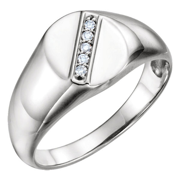 Men's 14K White Gold 5-Stone Oval Diamond Ring