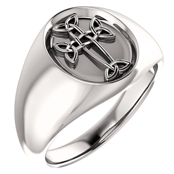 Men's Celtic Cross Ring in 14K White Gold