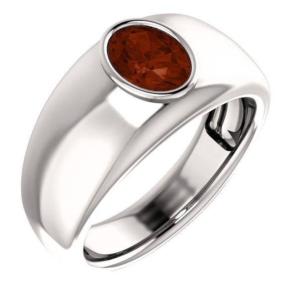 Men's 14K White Gold Oval Garnet Ring