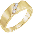 Men's 3-Stone 1/5 Carat Diamond Wedding Band, 14K Gold