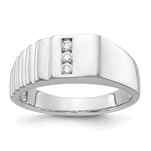 Men's 3-Stone Diamond Ribbed Ring, 14K White Gold