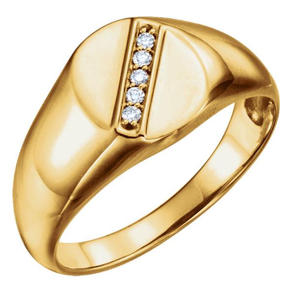 Men's 5-Stone Oval Diamond Signet Ring, 14K Gold