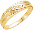 Men's 5-Stone 1/10 Carat Diamond Ring, 14K Yellow Gold