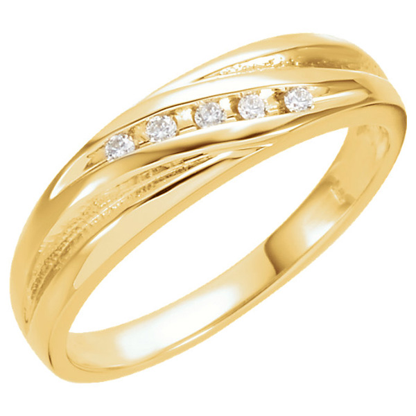 Women's 5-Stone 1/10 Carat Diamond Ring, 14K Gold