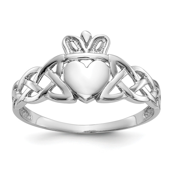Men's Celtic Knot Claddagh Ring, 14K White Gold