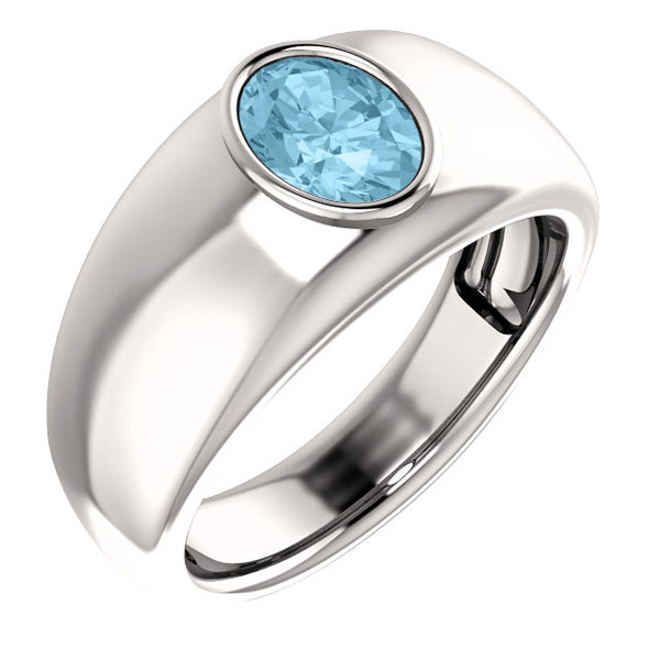 Men's Oval Aquamarine Ring, 14K White Gold