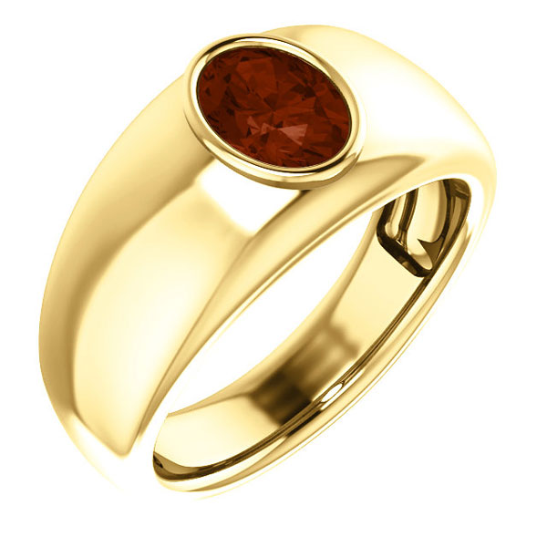 Men's Oval Garnet Ring in 14K Yellow Gold