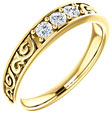 Men's Paisley Three Stone Diamond Wedding Band Ring, 14K Gold