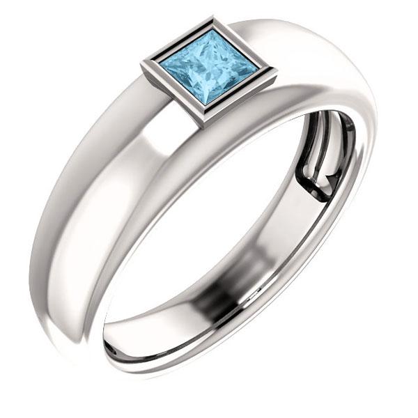 Men's Princess-Cut Aquamarine Ring in 14K White Gold