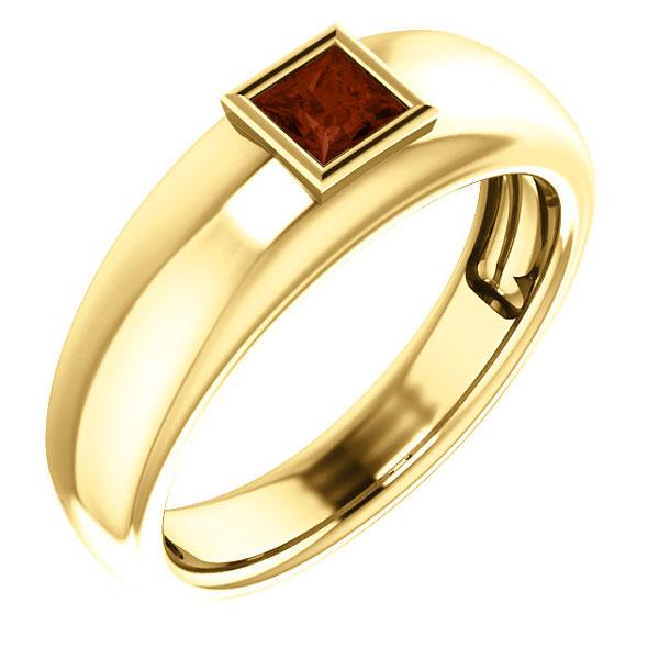 Men's Princess-Cut Garnet Ring, 14K Gold