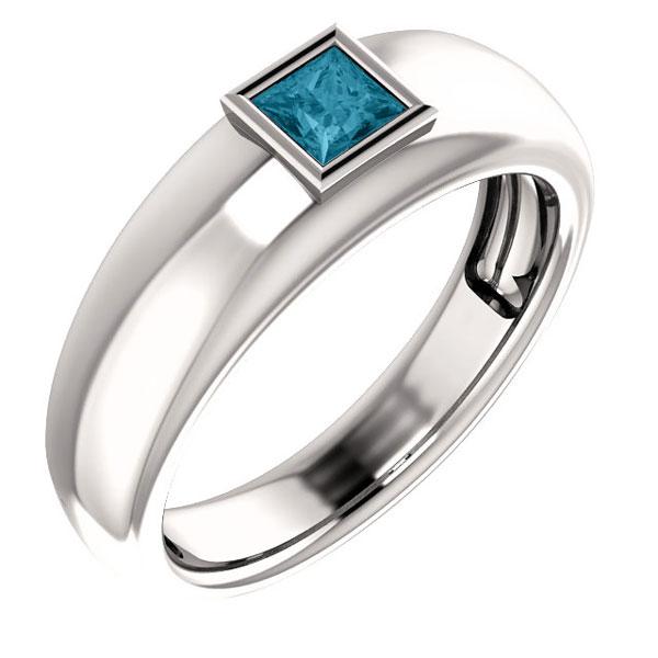 Men's London-Blue Topaz Princess-Cut Ring in 14K White Gold