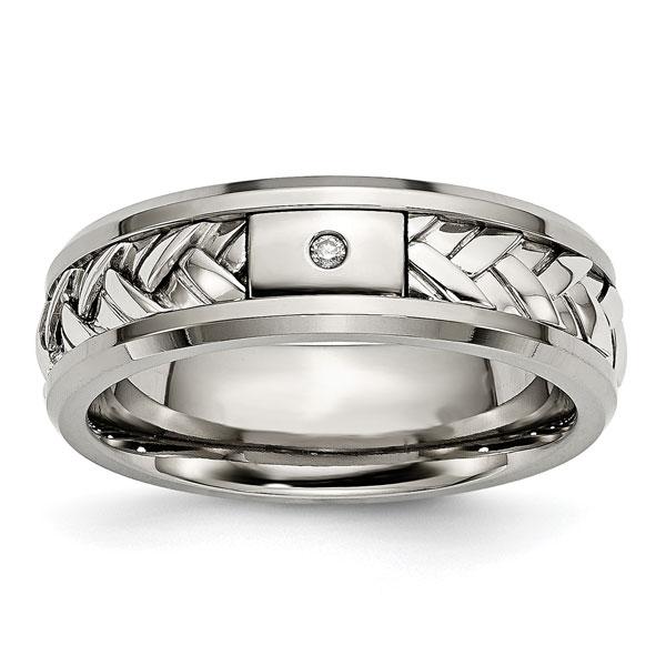 Men's Titanium and Silver Woven Wedding Band Ring with Diamo