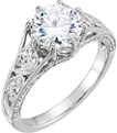 CZ & Diamond Paisley Band Swirl Engagement Ring