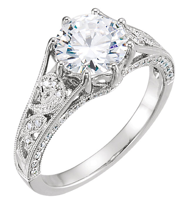 1.50 Carat Moissante and Diamond Swirl Pattern Engagement Ring