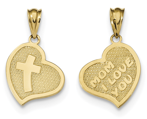 Mom I Love You Gold Heart Pendant with Cross