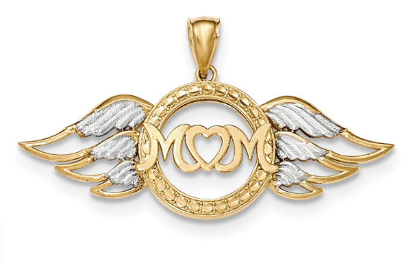 Mom with Angel Wings Pendant, 14K Gold