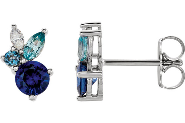 Multi-Colored Gemstone Stud Earrings, 14K White Gold