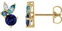 Multi-Colored Gemstone Stud Earrings, 14K Gold