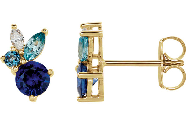 Multi-Colored Gemstone Stud Earrings in 14k Gold