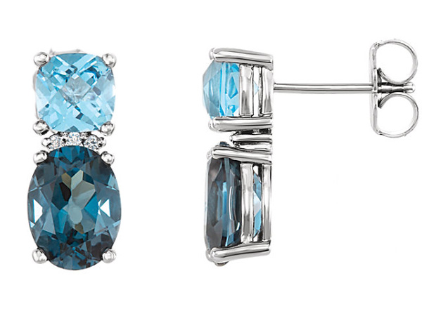 Multi Colored Blue Topaz Gemstone Earrings in 14K White Gold