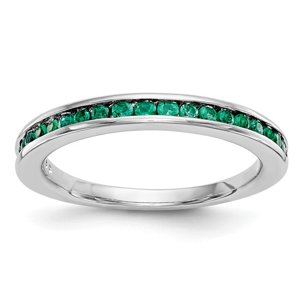 Natural Emerald Band in 14K White Gold