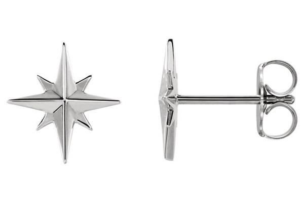 North Star Earrings in 14K White Gold