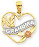 Tri-Tone #1 Grandma Heart Pendant in 14K Gold
