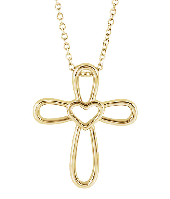 Open Heart Cross Necklace in 14K Yellow Gold