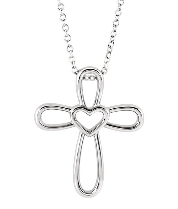 Open Heart Cross Necklace, Sterling Silver