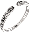 Open Shank Paisley Swirl Ring in 14K White Gold