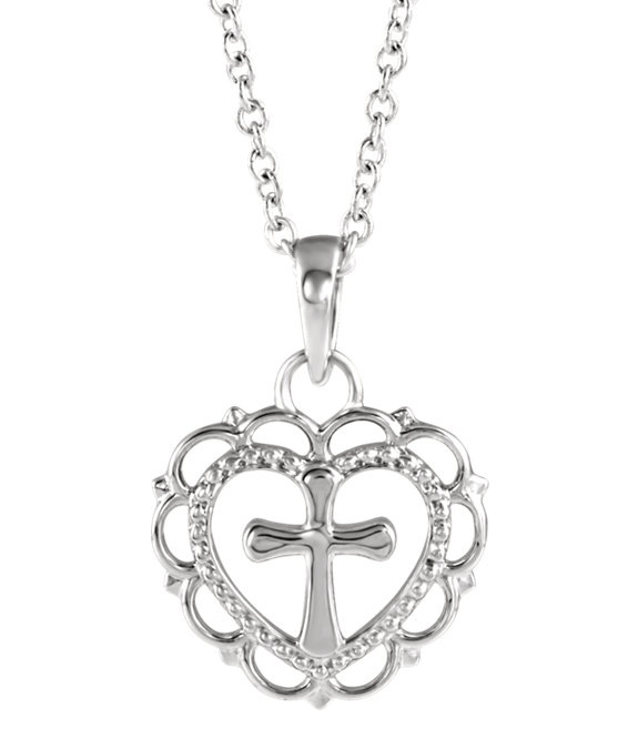With All My Heart Cross Necklace in Sterling Silver