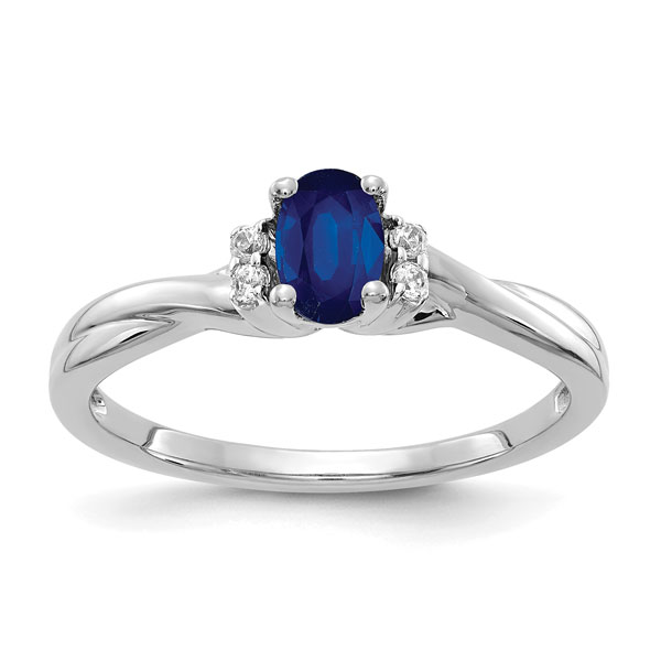 Oval Blue Sapphire & Dual Diamond Ring in 14K White Gold