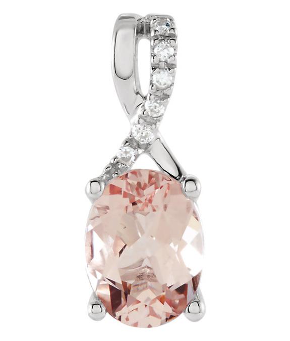 Oval Morganite and Diamond Pendant, 14K White Gold