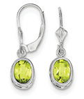 Oval Lever-Back Peridot Earrings, Sterling Silver