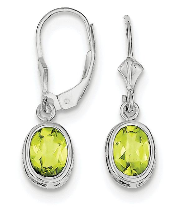Oval Lever-Back Peridot Earrings, Sterling Silver