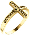 Paisley Carved Cross Ring for Women, 14K Gold