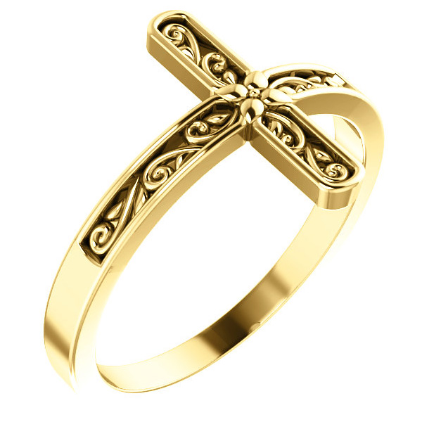 Paisley Carved Cross Ring for Women in 14K Gold