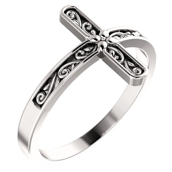 Sterling Silver Paisley Cross Ring for Women