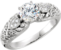 1/2 Carat Paisley Pattern Diamond Engagement Ring