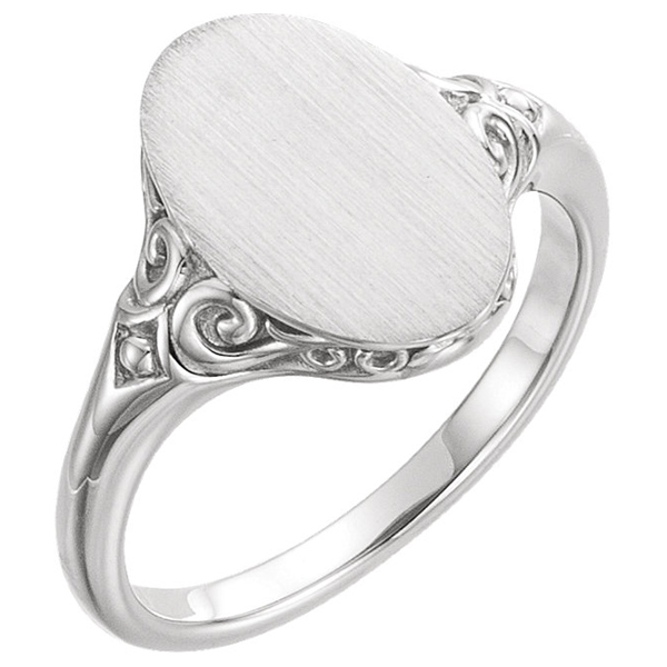 Paisley Scroll Signet Ring, 14K White Gold