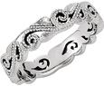 Paisley Beaded Swirl Women's Band in 14K White Gold