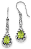 Pear-Cut Peridot and CZ Accent Drop-Earrings in Sterling Silver