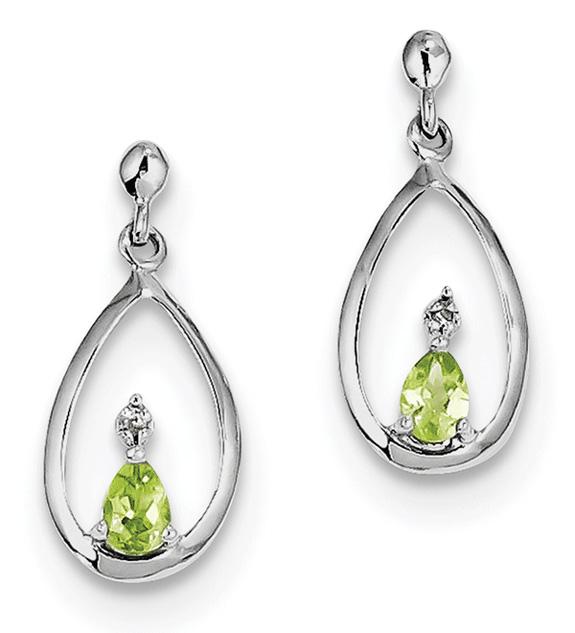 Pear-Shaped Peridot Drop Earrings in Sterling Silver