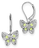 Peridot Butterfly and Diamond Accent Earrings, Sterling Silver
