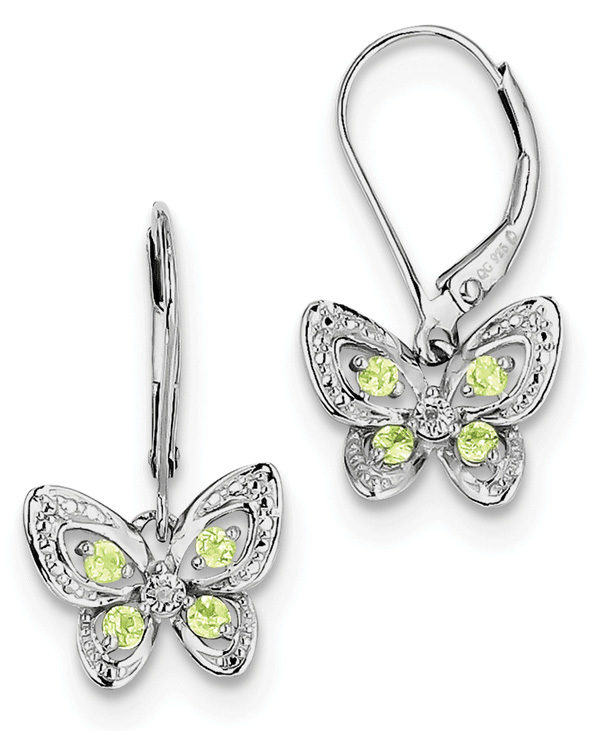 Fine Jewelry Sterling Silver Peridot & Diamond-Accent Earrings