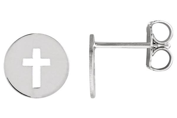 Small Pierced Cross Disc Earrings, 14K White Gold