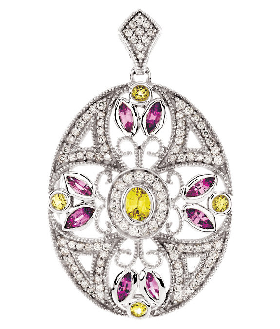 Pink and Yellow Sapphire Diamond Necklace, 14K White Gold