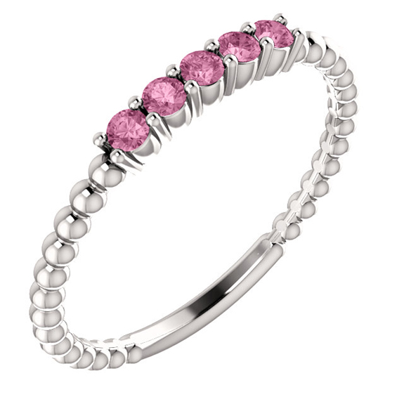 Sterling Silver Pink Topaz Beaded Stackable Band Ring