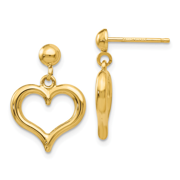 Polished Dangle Heart Earrings, 14K Gold
